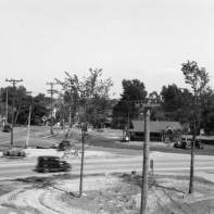 Intersection of Old Liverpool Road, Onondaga Lake Parkway, and Oswego Street in Liverpool (the building in the center is Heid's)