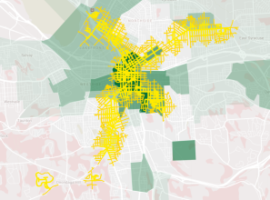 Jobs in green, streets within walking distance of a BRT stop in yellow