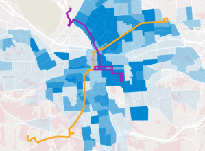 Population in blue, BRT lines in orange and purple