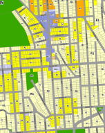 ReZone map of tract 45. Multifamily housing is banned in areas shaded pale yellow